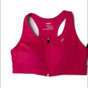 🆕 Fila hot pink zip front sports bra